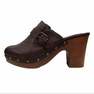Mia Ailani Brown Faux Leather Studded Clog Shoes